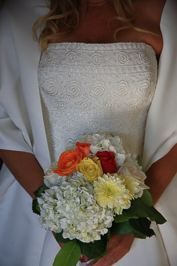 bride holding bouquet photo