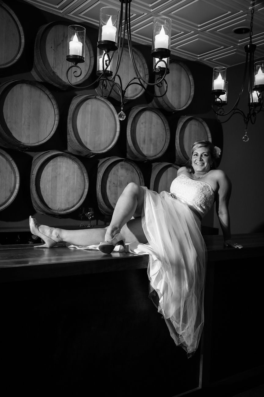 Bride on Wine Cellar Bar Photo 8 Chains North Winery