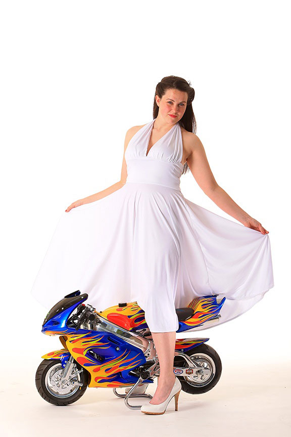 Product Photo Pine Up Girl with Motor Bike