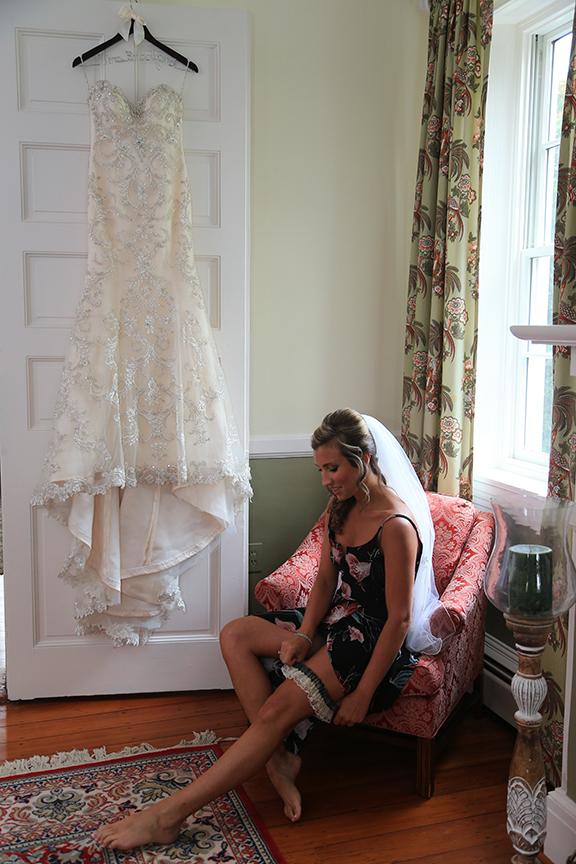 Chesapeake City Maryland bride getting ready with garder belt | Frederick Wedding Photographer