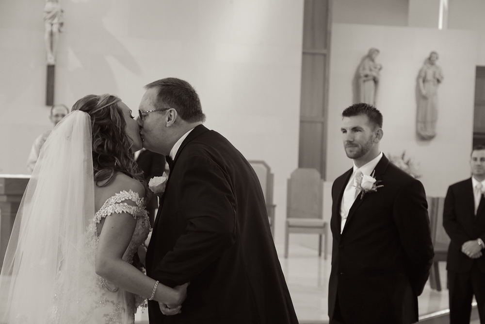 Wedding Ceremony Photo Father Kissing Bride | Frederick Maryland Wedding Photographer