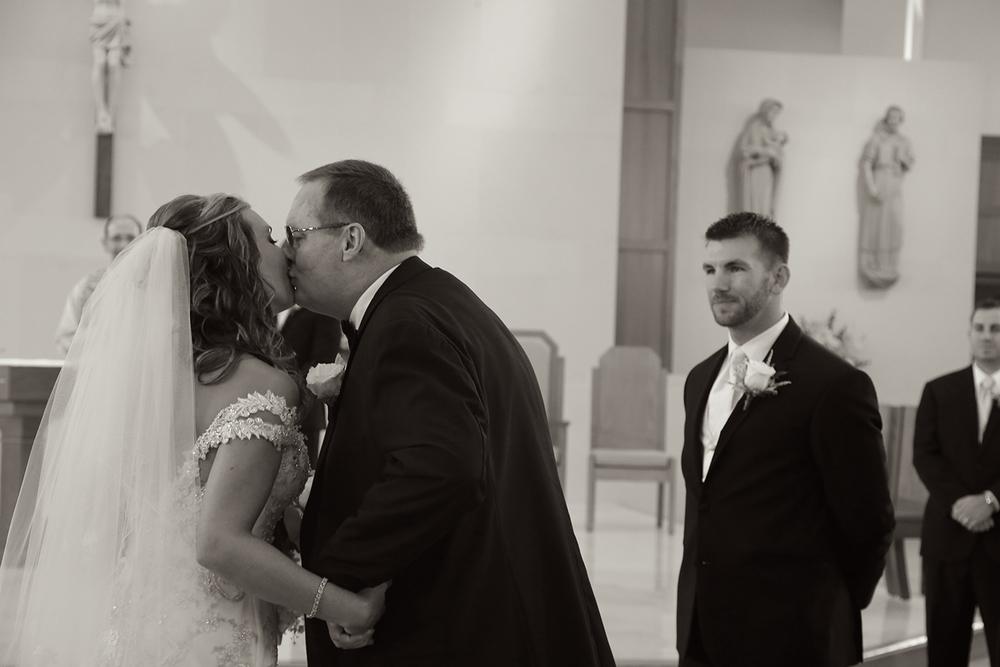 Wedding Ceremony Photo Father Kissing Bride | Frederick Maryland Wedding Photographer