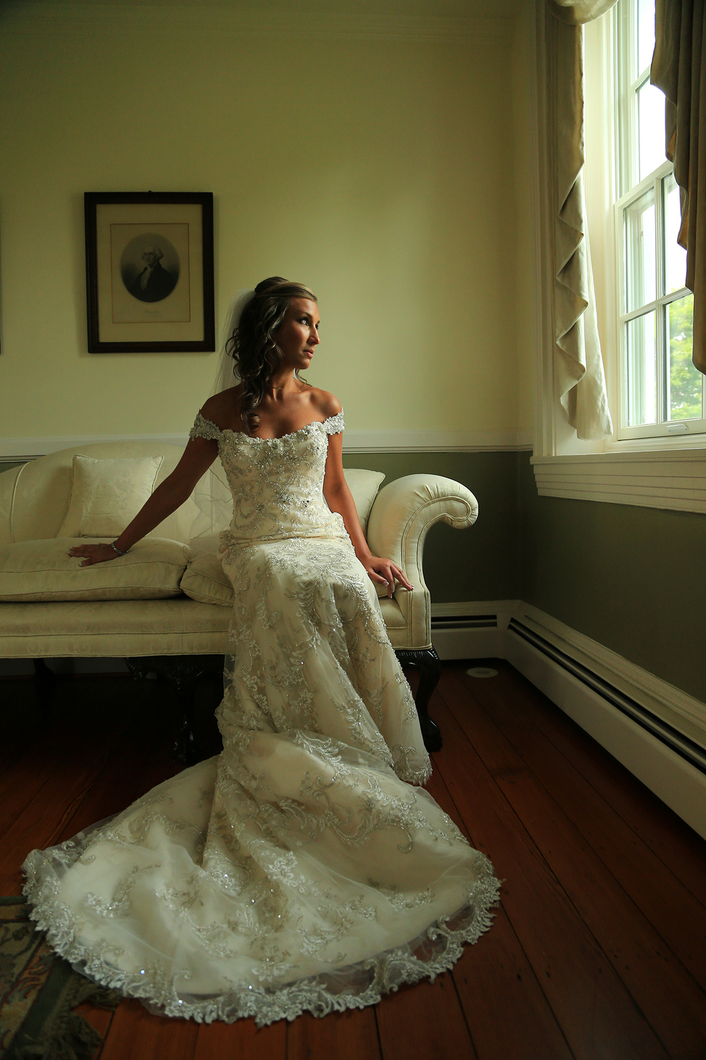 Bridal Portrait With Window Chesapeake City MD | Frederick Maryland Wedding Photographer