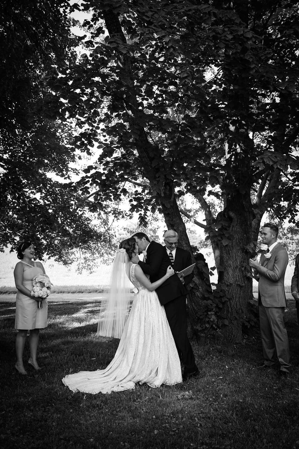 Whitehall Estates Wedding Ceremony Photo Kissing Black and White Photo