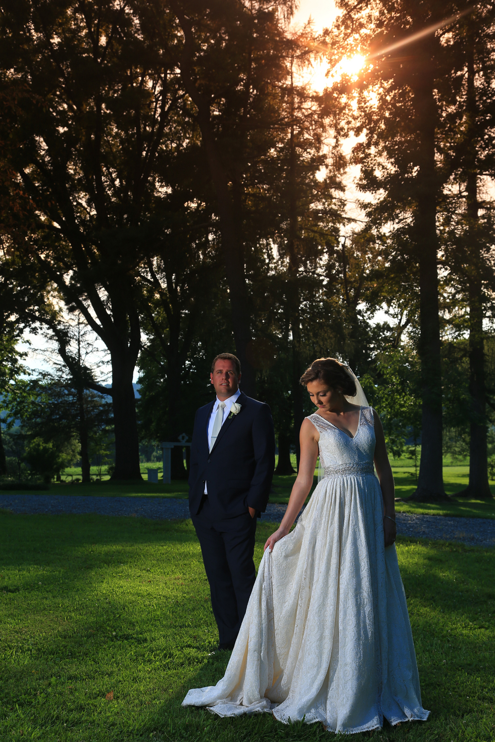 Whitehall Estates Bride and Groom with Orange Sunset