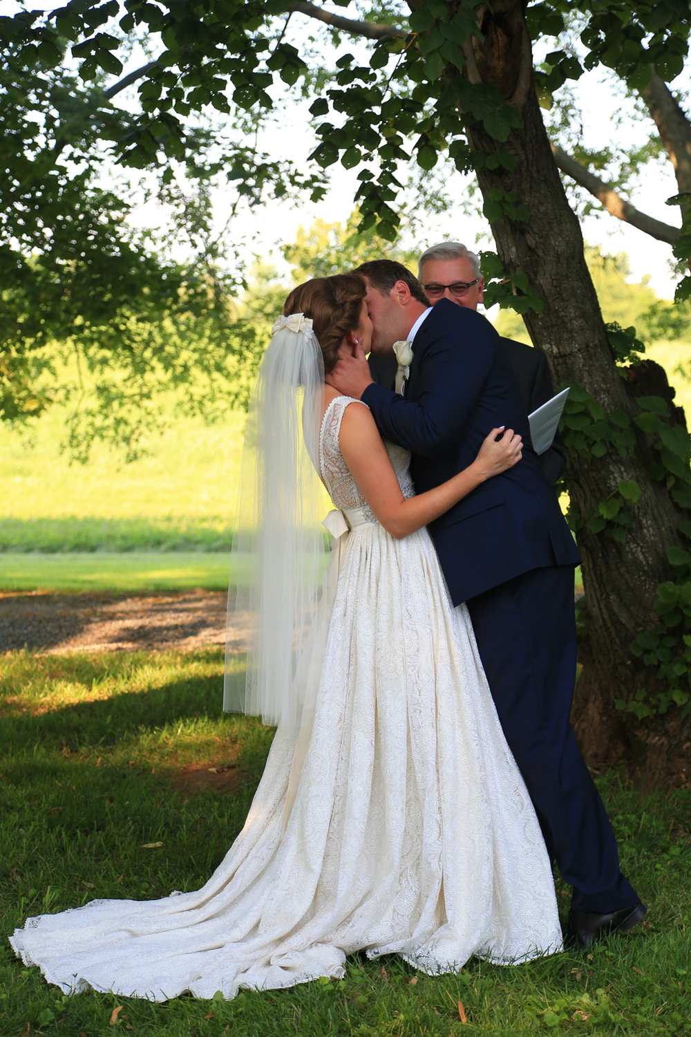 Whitehall Estates Wedding Ceremony Bride and Groom Kissing