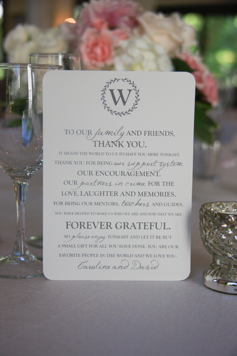Whitehall Estates Wedding Detail Photo Table Setting Thank You cards