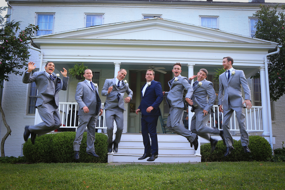 Whitehall Estates Wedding Photo Groomsmen Jumping
