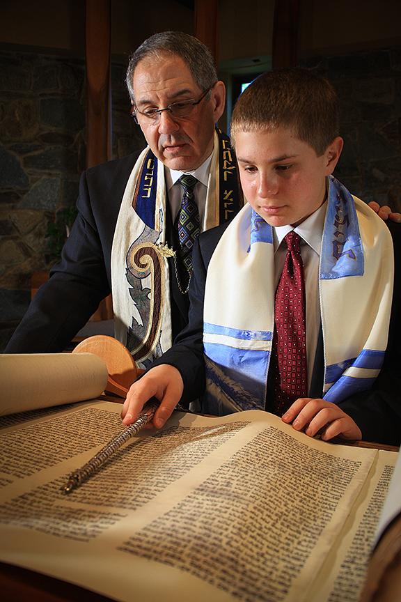 Bar Mitzvah Portrait Boy and Rabbi