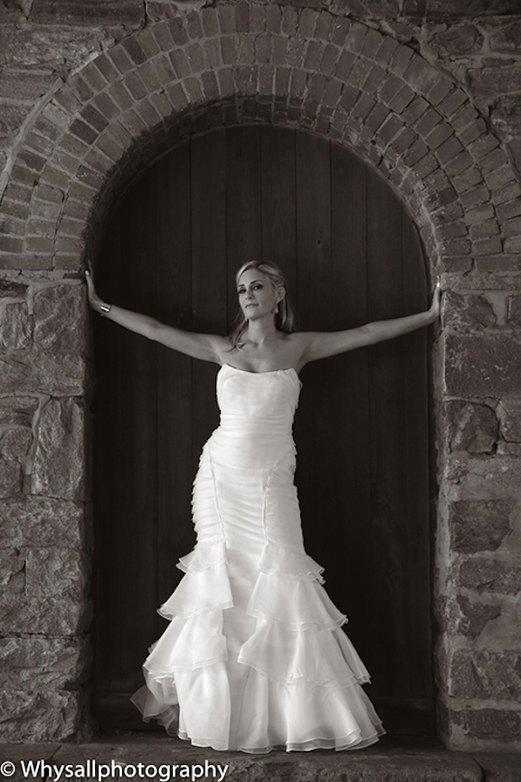 bridal portrait door industrial wedding baltimore md black and white photo