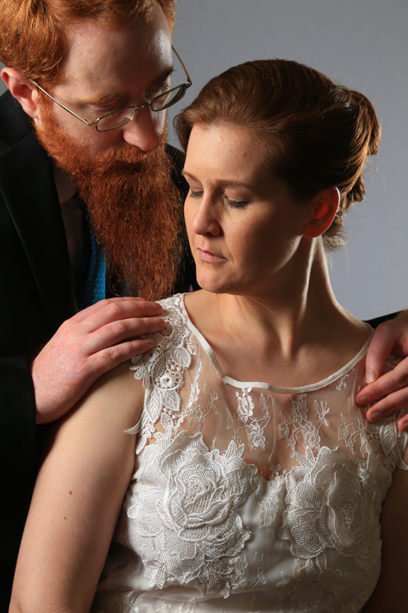 bride and groom in photo studio