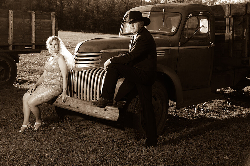 wv farm bride and groom sepia