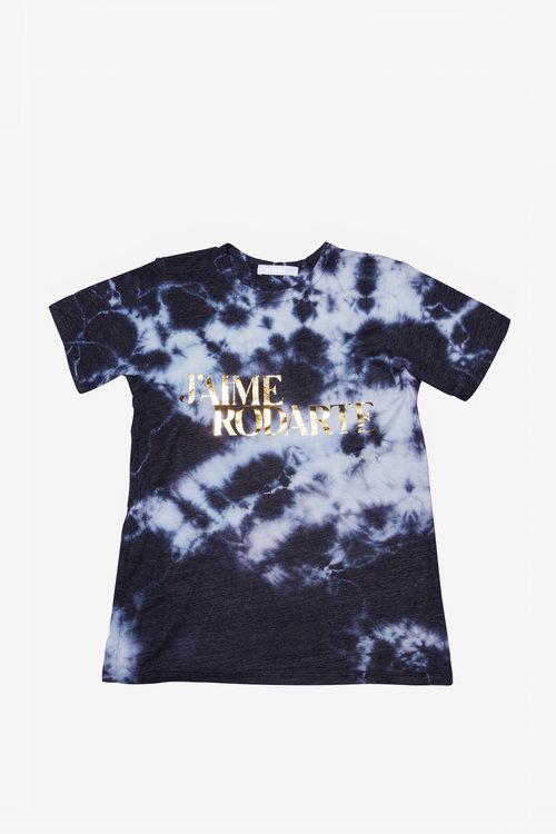 Navy Love Hate Rodarte Tie Dye T-Shirt Gold Text.  Rodarte Tee TieDie LoveHate 01.jpg 1b33f93ccae9
