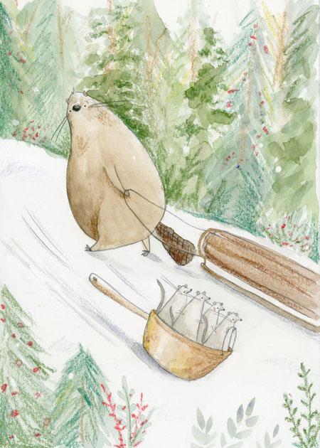 Sledding Beaver