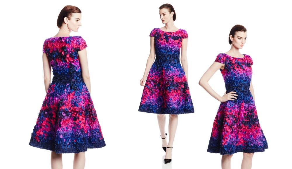 Multi Color Organza Petal Cocktail Dress