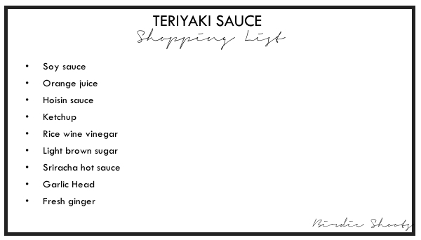 Teriyaki Sauce Shopping List