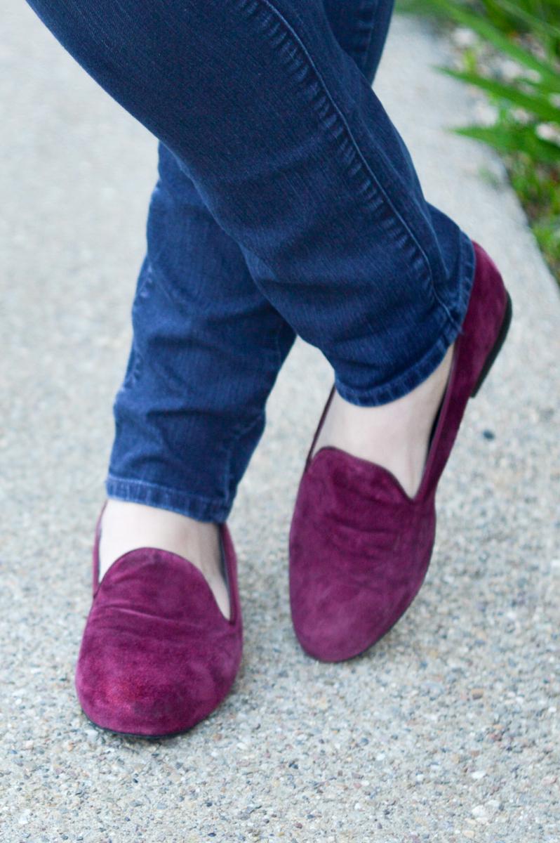 Draped Coat, Skinny Jeans, velvet slippers via. Birdie Shoots