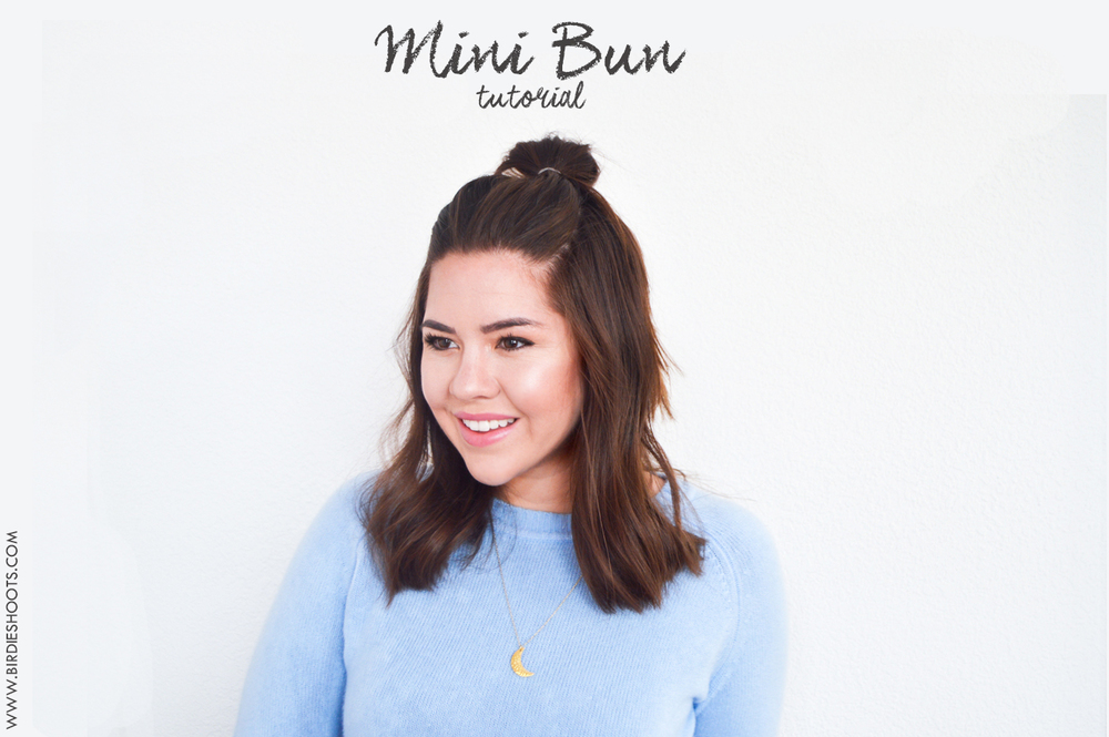 Short Style, Mini Bun Hair Tutorial via. Birdie Shoots