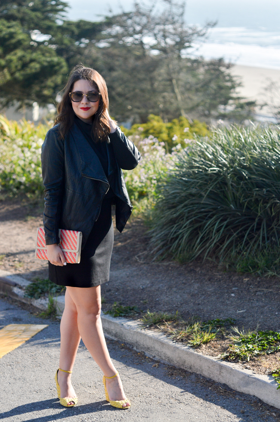 LBD & Leather Jacket via. Birdie Shoots