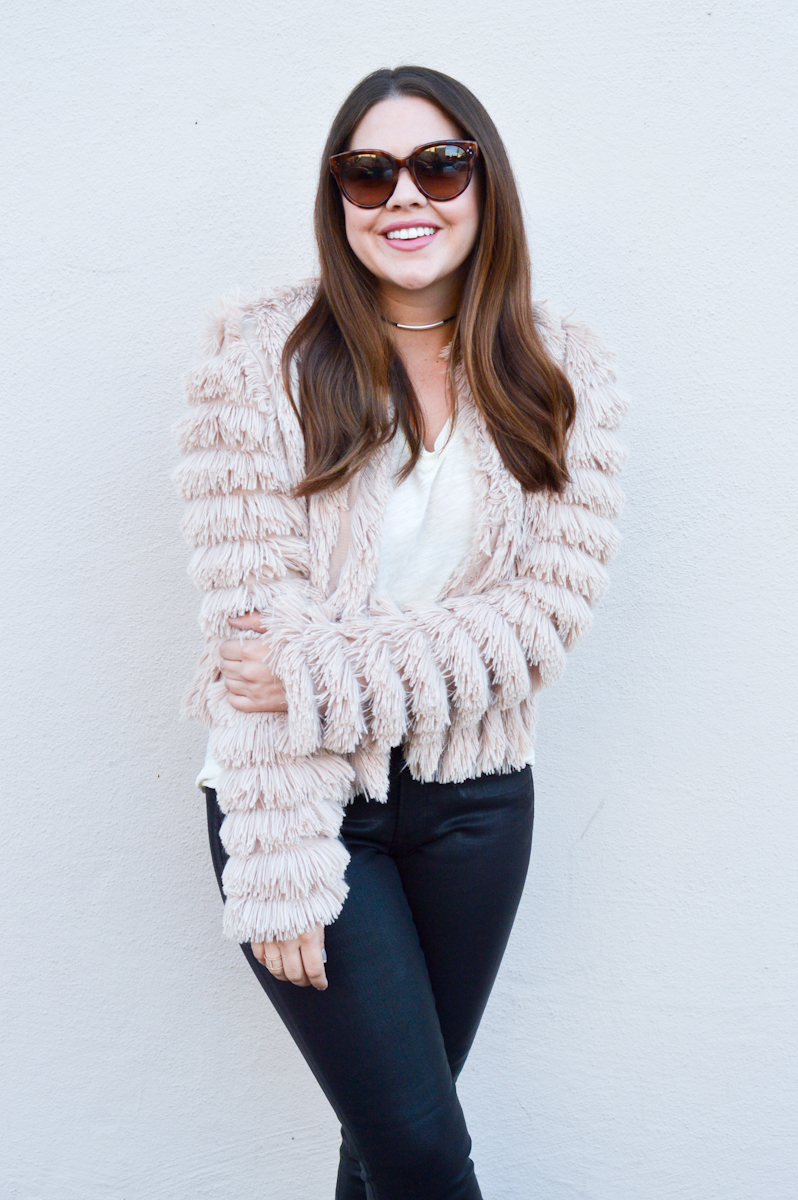 Furry Pink Jacket for Fall via. www.birdieshoots.com