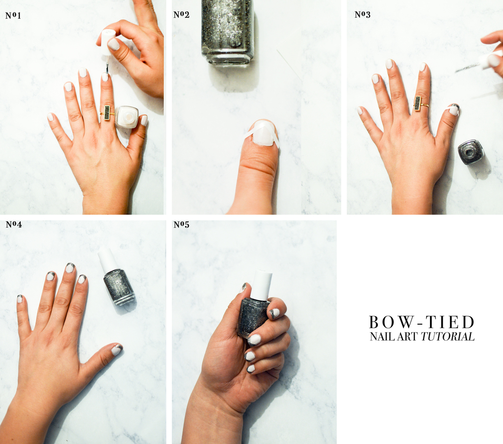 Bow-tied nail art tutorial via. Birdie Shoots