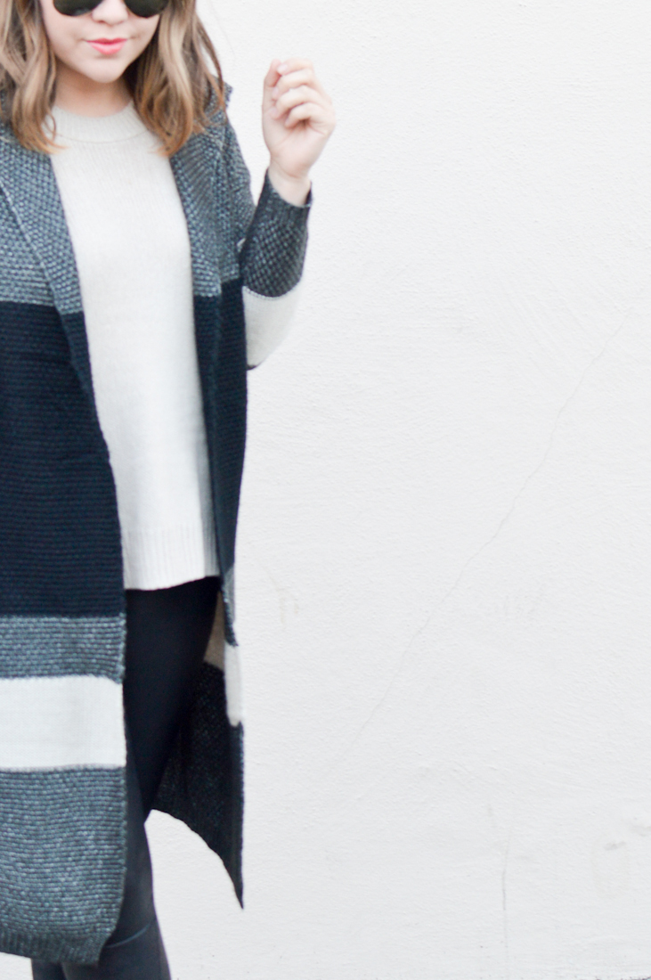 Long Striped Cardigan, Winter Dressing via. www.birdieshoots.com
