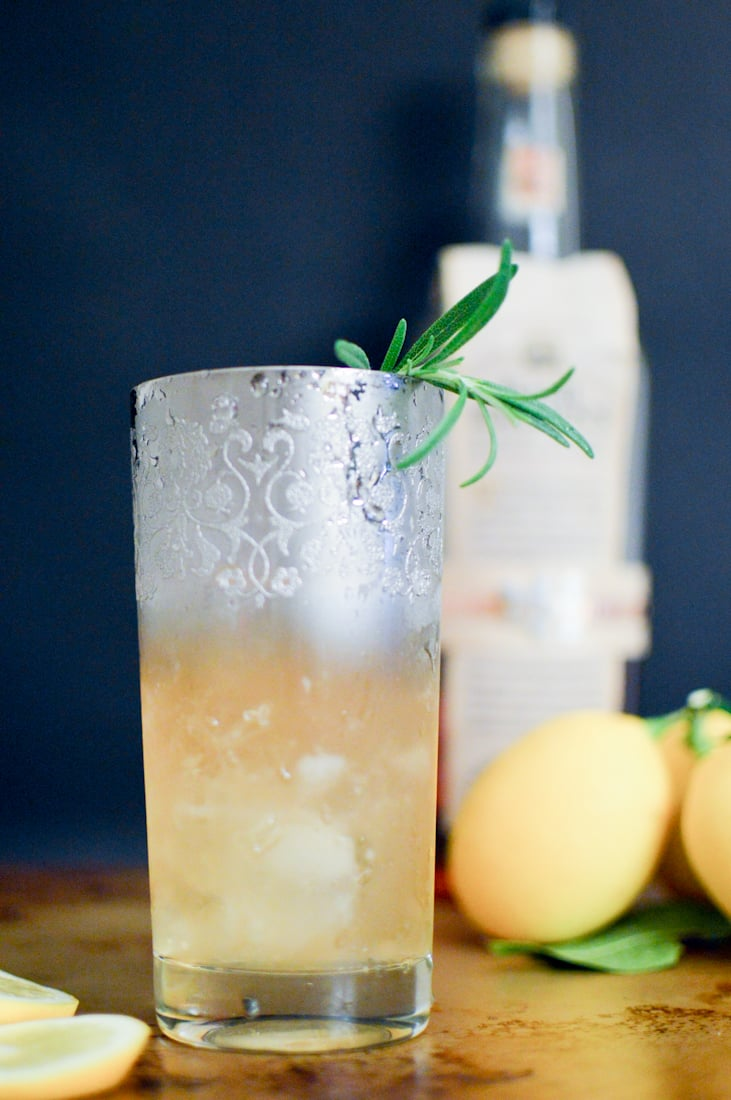 Rosemary Bourbon Sour Cocktail via. www.birdieshoots.com