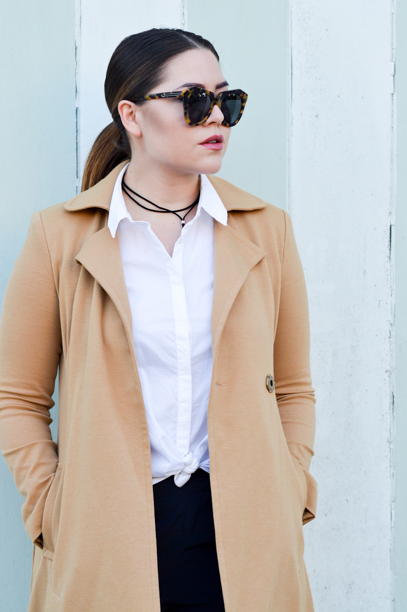 Camel Coat, Silky Pants and collared blouse via. www.birdieshoots.com