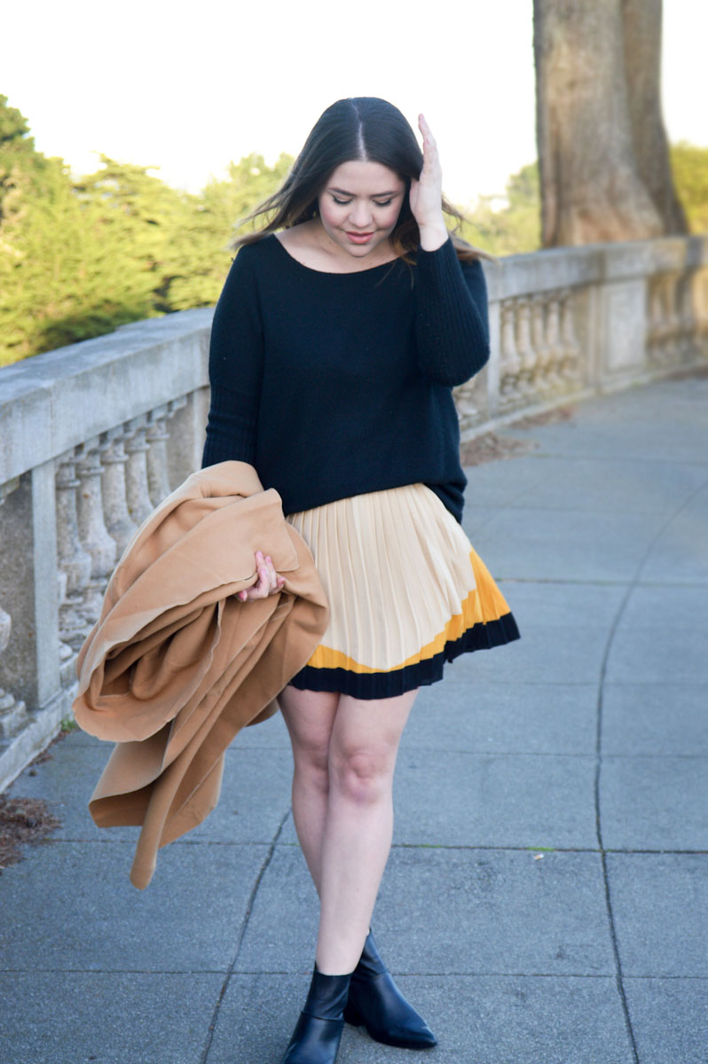 Oversized Camel Jacket & Skirt via. www.birdieshoots.com
