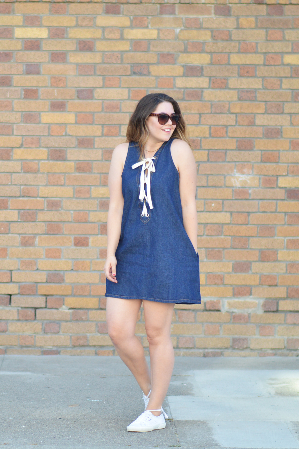 Denim Lace-up dress via. www.birdieshoots.com