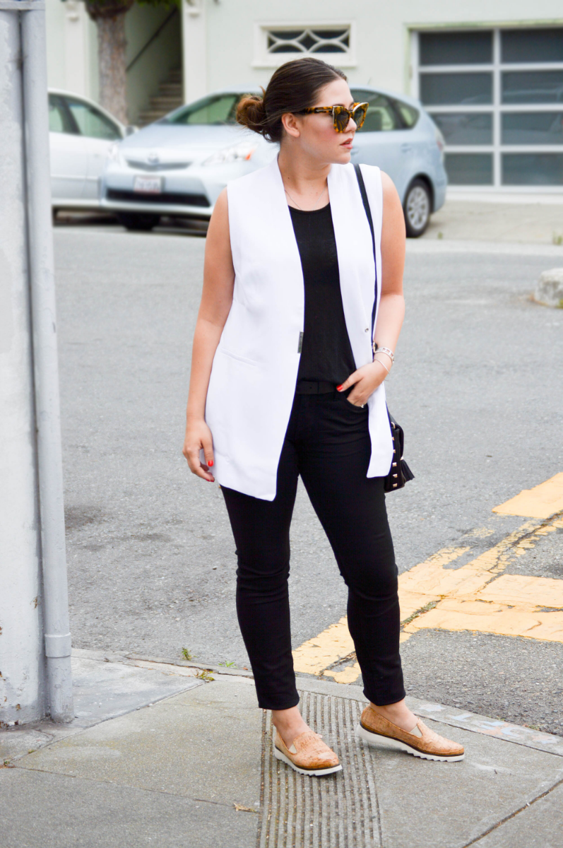 Long white vest styled with black denim & tank via. www.birdieshoots.com