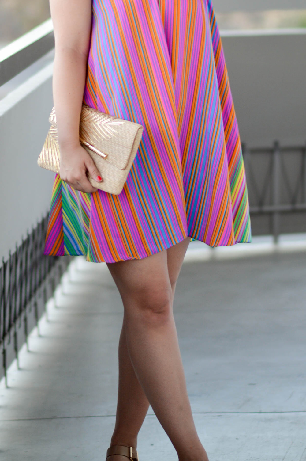 Striped Colorful Summer Dress in Palm Springs via. www.birdieshoots.com