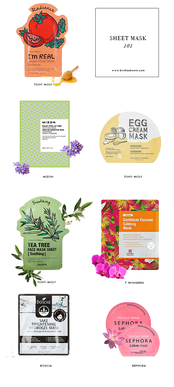 Sheet Mask 101, what brands to buy now! via. www.birdieshoots.com