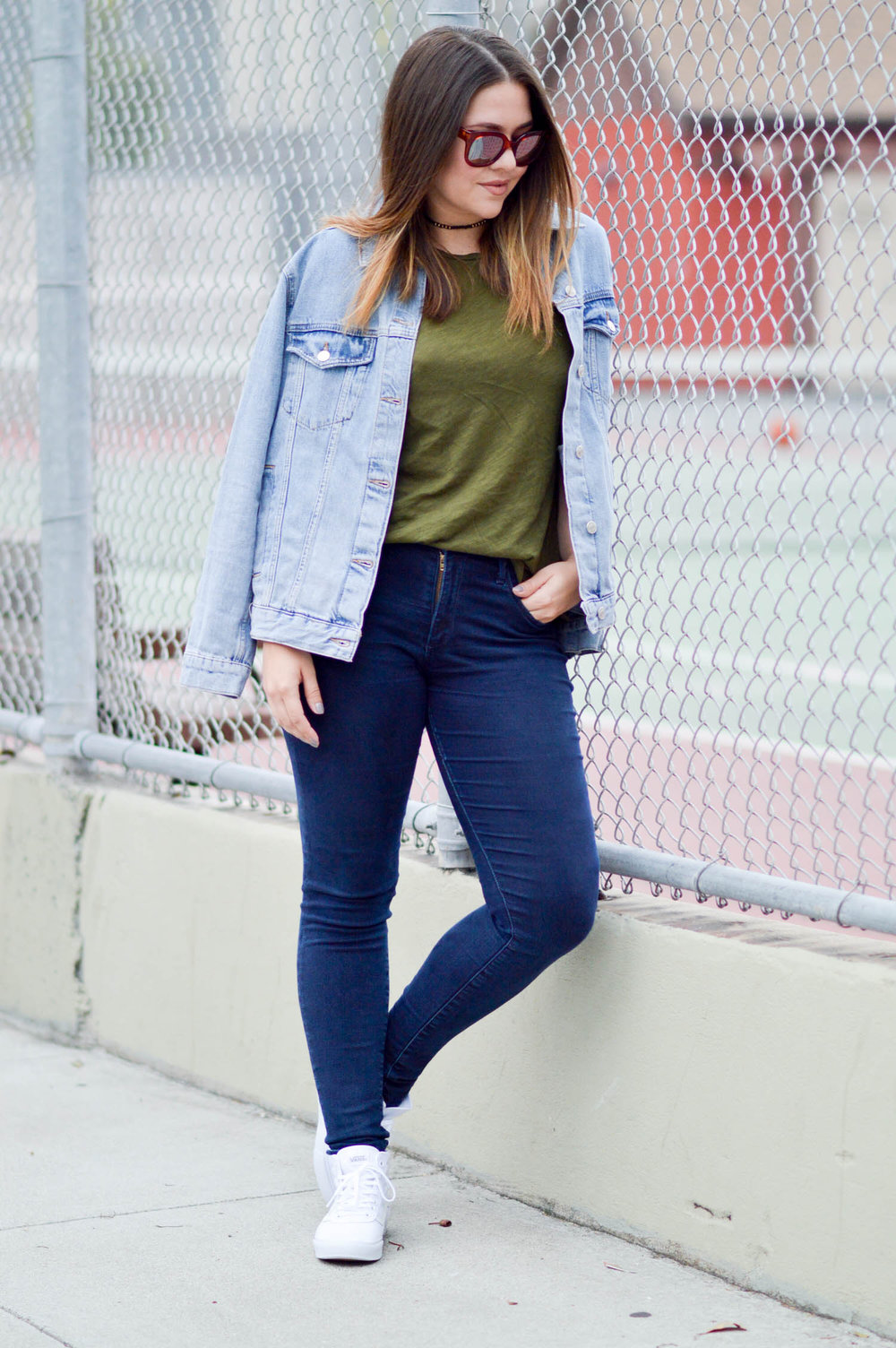 Canadian Tuxedo, oversized denim jacket and reflective sunglasses via. www.birdieshoots.com