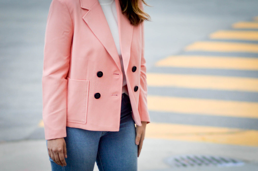 Pink Pastel Jacket and white turtleneck via. www.birdieshoots.com
