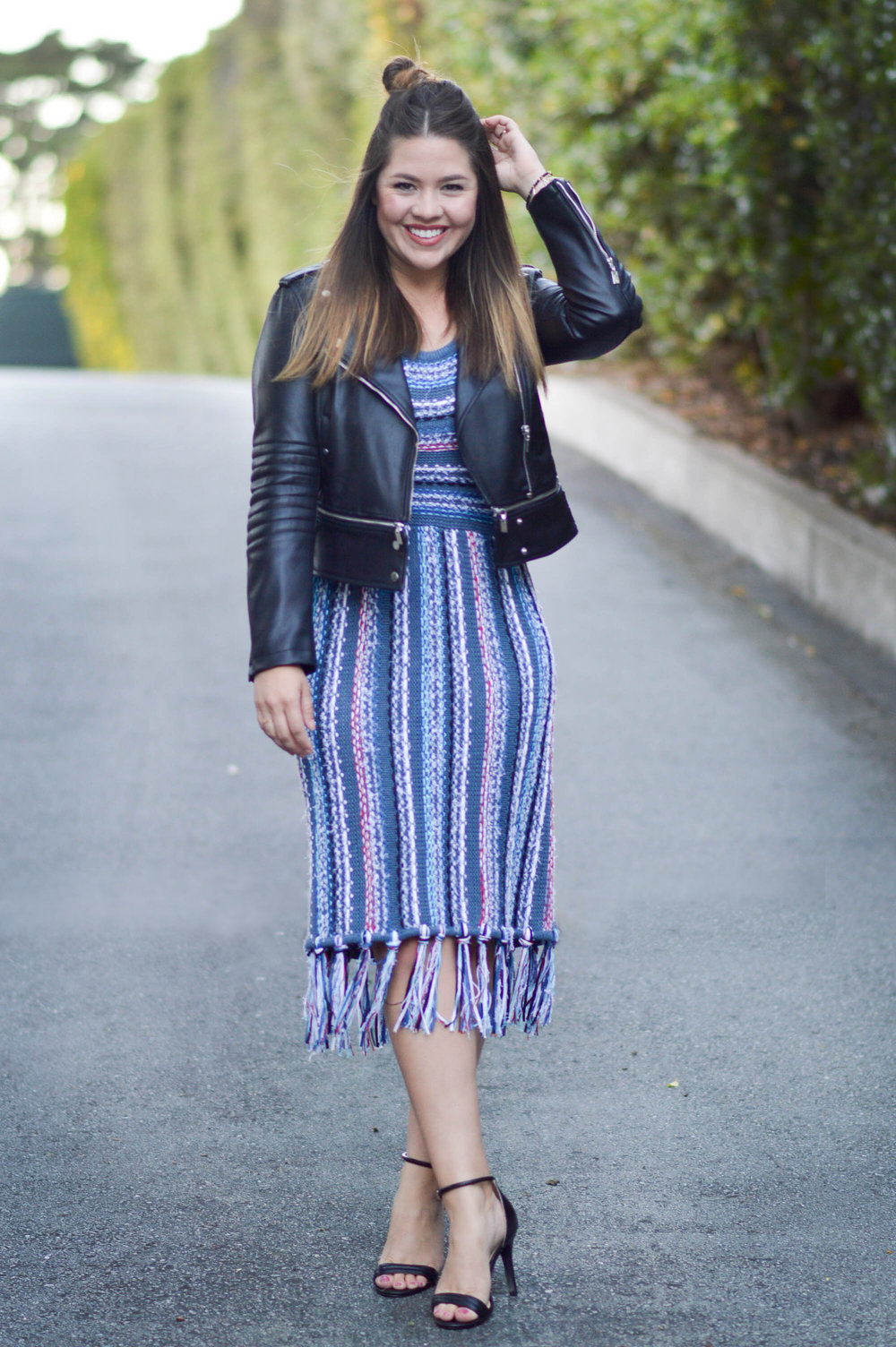 Tassel-hem sweater dress, fall date night via. www.birdieshoots.com