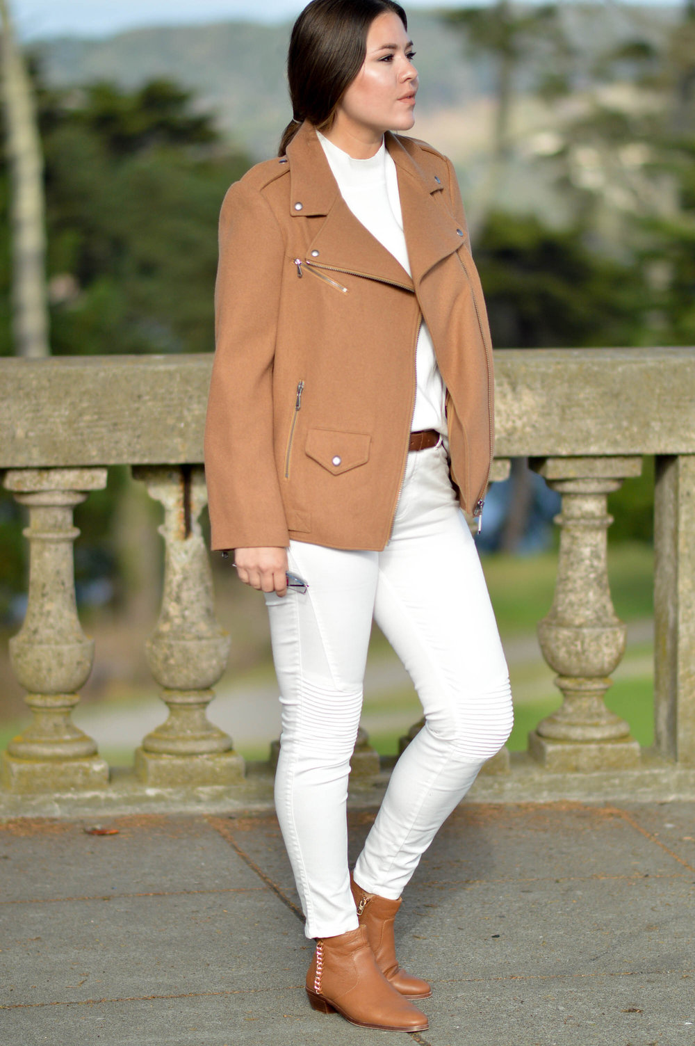 Fall Neutrals | Rebecca Minkoff Jacket with white on white look via. www.birdieshoots.com