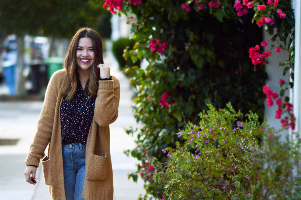 Star Blouse and tan cardigan via. www.birdieshoots.com