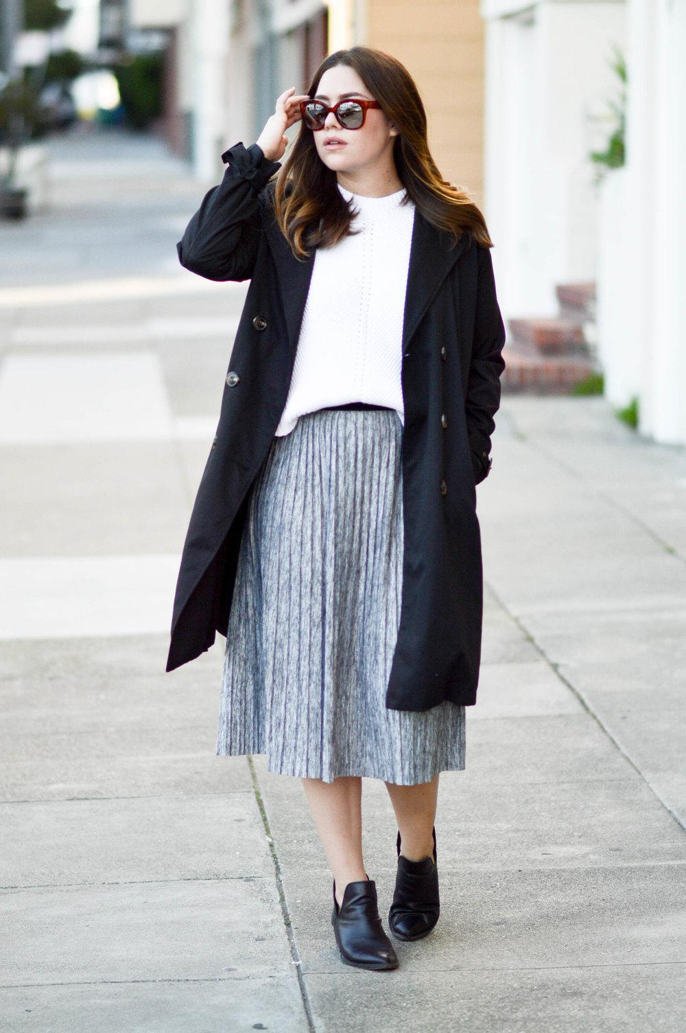 Pleated Skirt & Trench Coat via. www.birdieshoots.com