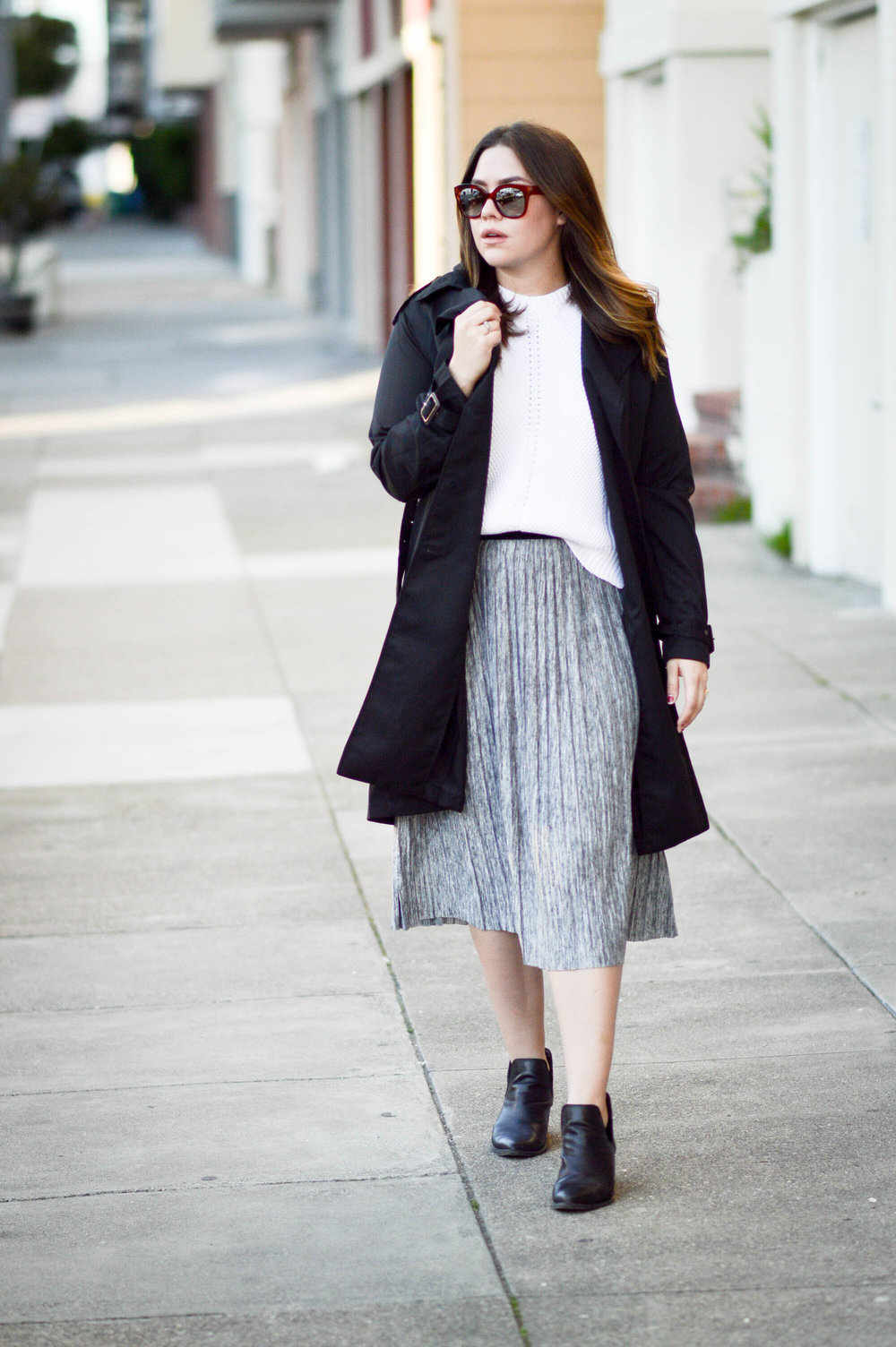 Pleated Skirt & Trench Coat via. www.birdieshoots.com