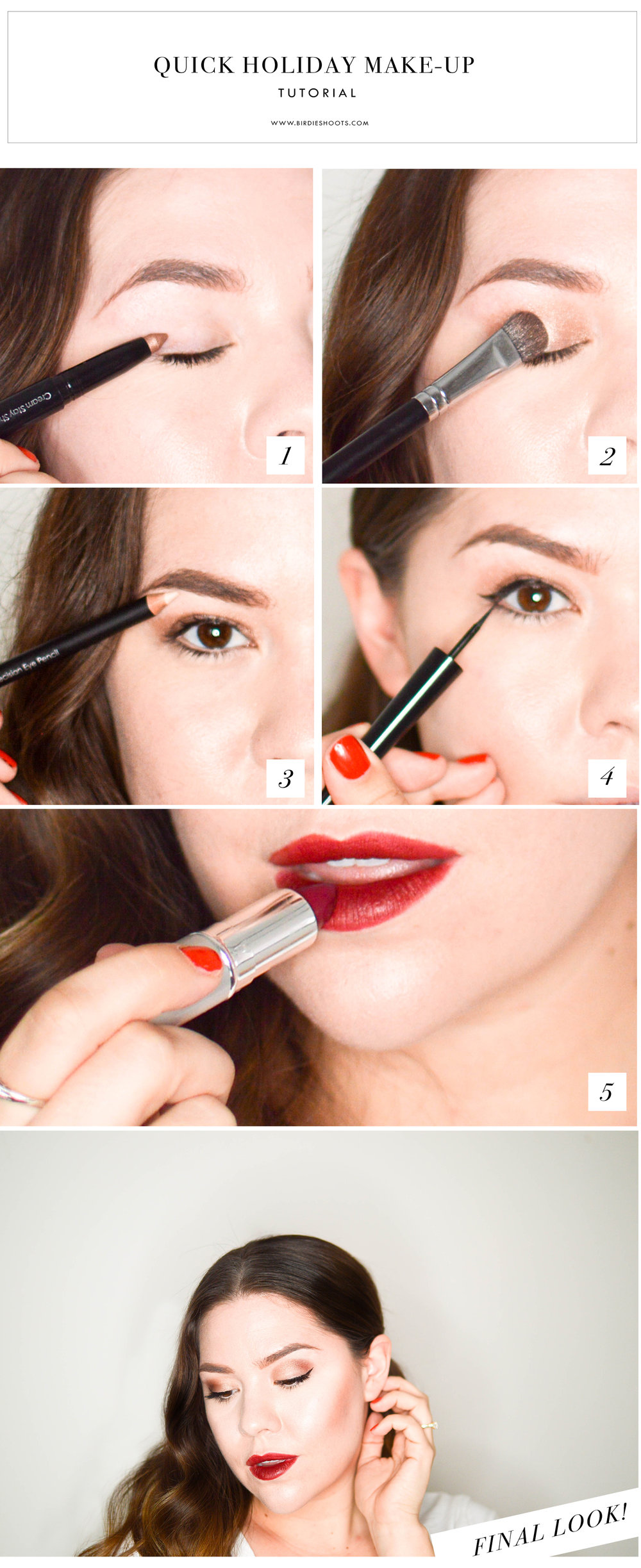 Quick Holiday Makeup Tutorial via. www.birdieshoots.com