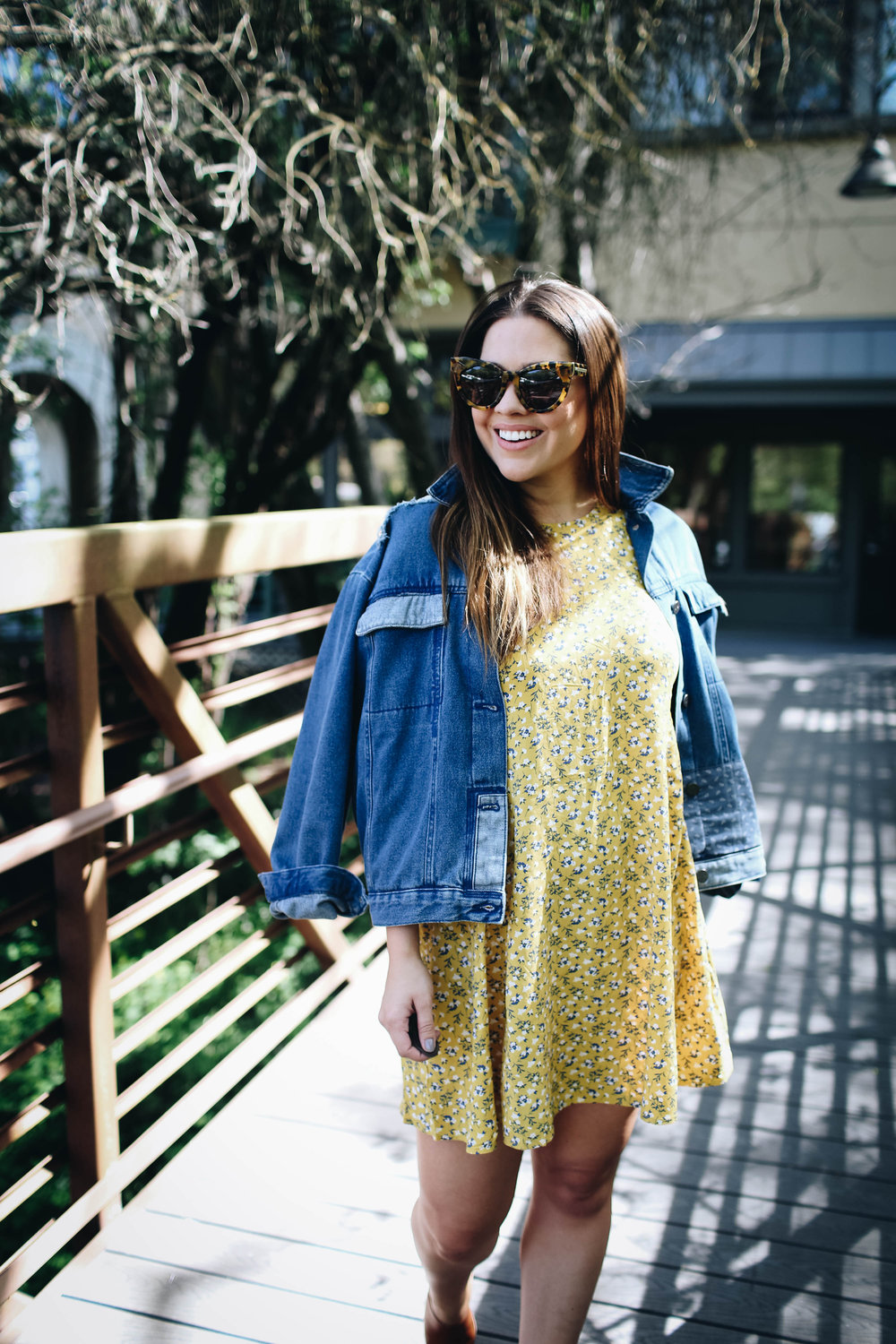 Yellow Floral Dress and Oversized Denim Jacket via. www.birdieshoots.com