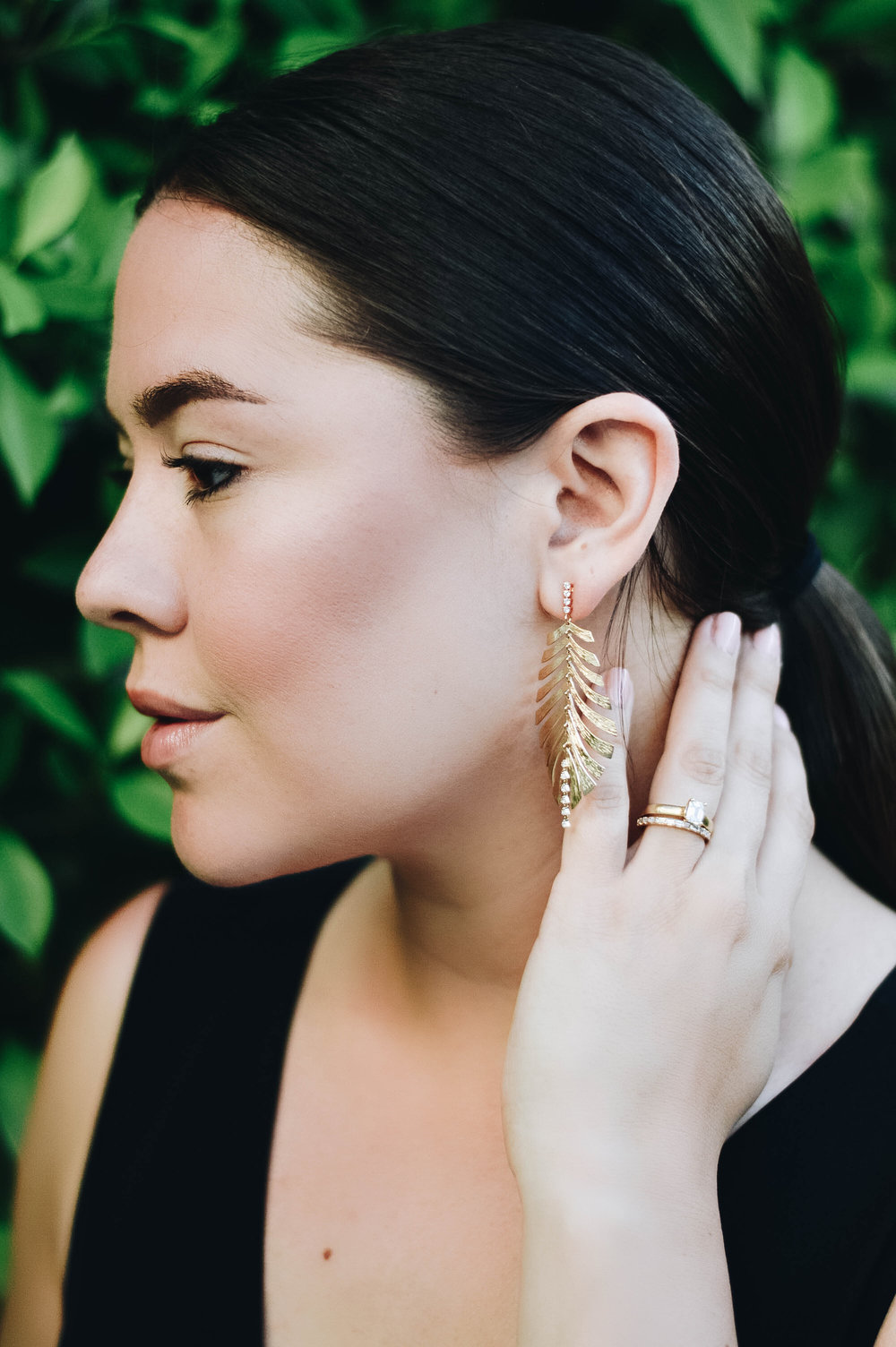 Diamond Palm Leaf Earrings from Hueb Jewelers via. www.birdieshoots.com