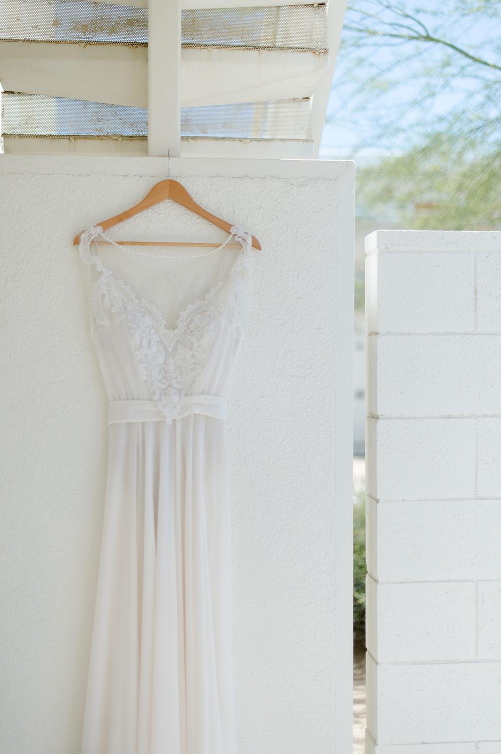 Palm Springs Wedding, the dress via. www.birdieshoots.com