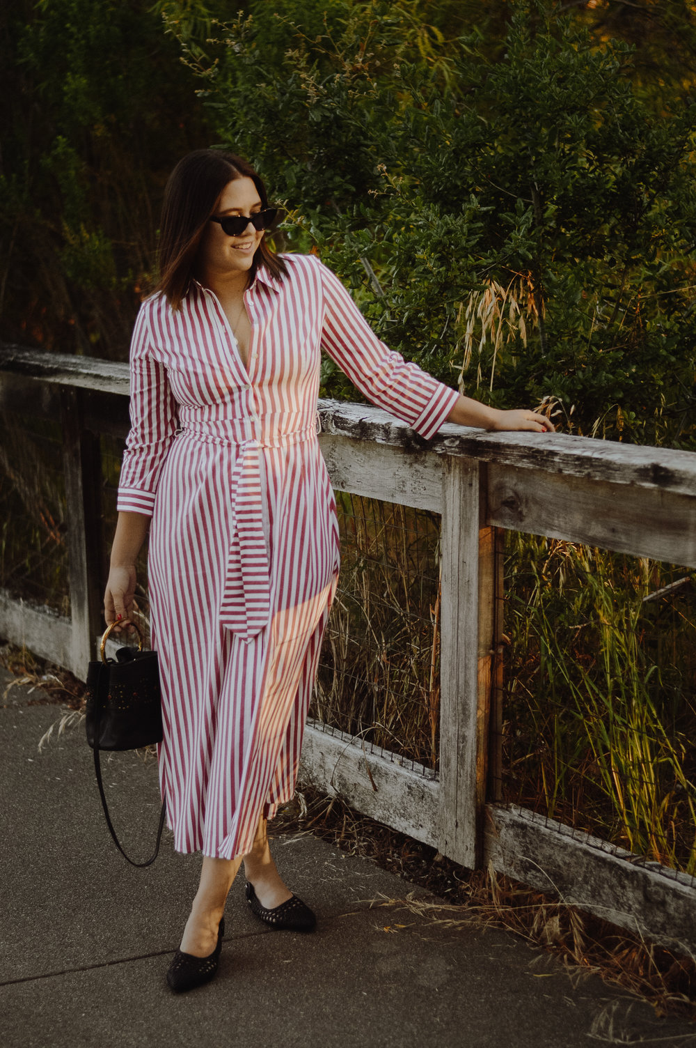 Stripe Button down dress via. Birdie Shoots