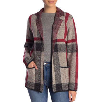 JOSEPH A - Plaid Notch Collar Sweater Jacket is now 62% off