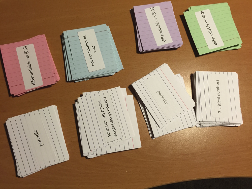Day 65 - Cards prepped for curve sketching