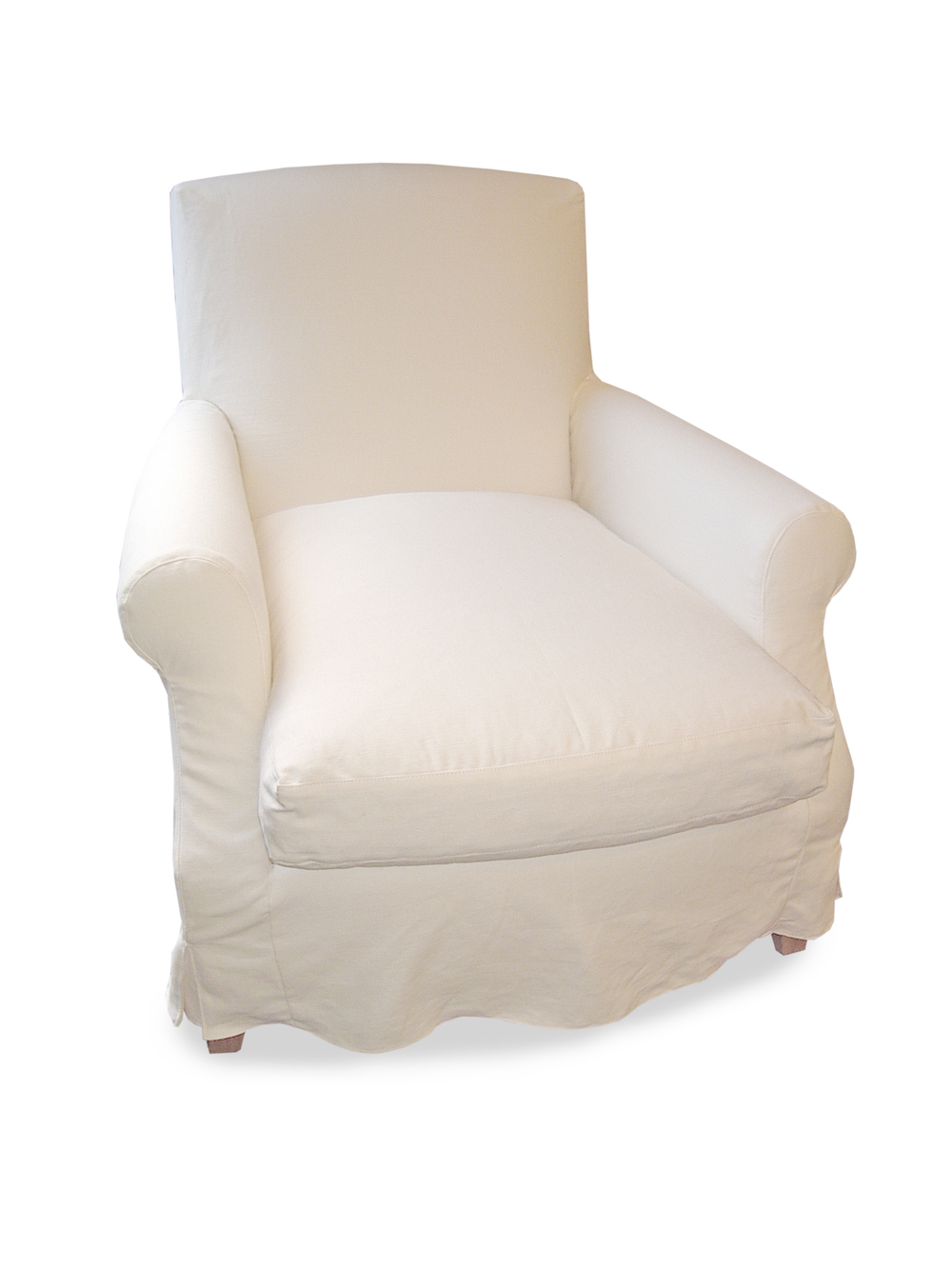 Lounge armchair with square tapering legs with  loose cover in white top-stitched linen with kick pleats, feather/down cushion