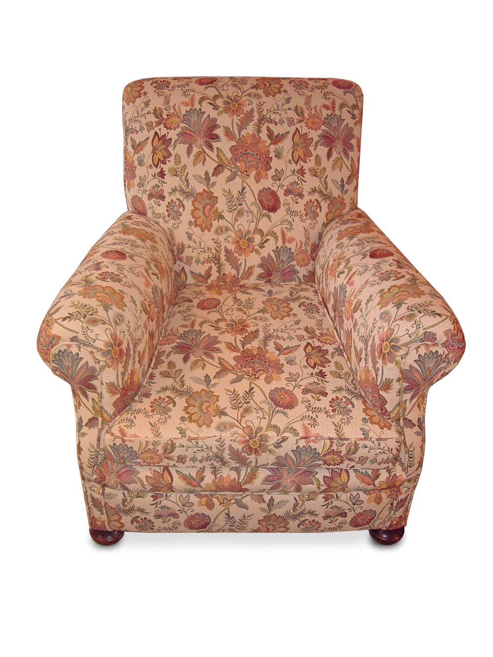 Classic armchair in striking flower pattern fabric running throughout the chair, stitched facing arms and feather/down cushion with bun feet