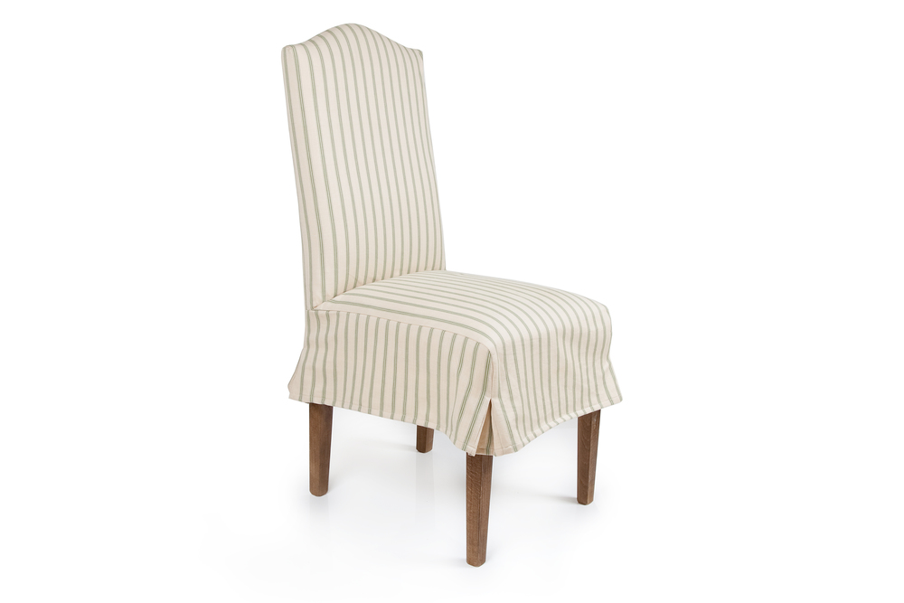 Classic Dining chair in green ticking loose cover with kick pleats